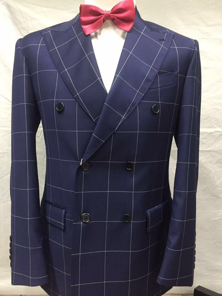 Blue and white double breasted windowpane Cerrutti wool