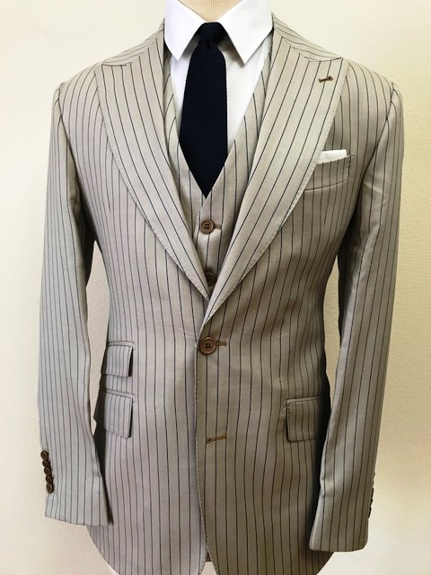Almond 3 piece Ariston cashmere and wool suit